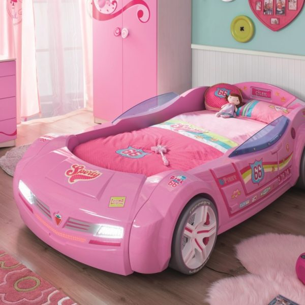 autobett in pink mit vielen features und details panda kinderm bel. Black Bedroom Furniture Sets. Home Design Ideas
