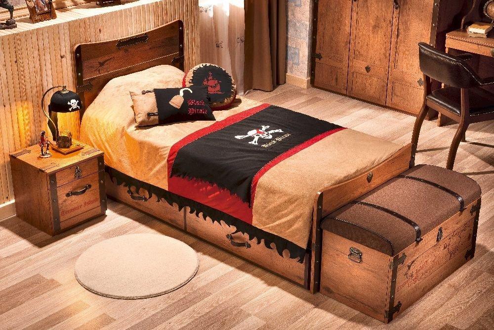 pirate l bett 100x200cm piratenm ssiges schiffbett top preis. Black Bedroom Furniture Sets. Home Design Ideas