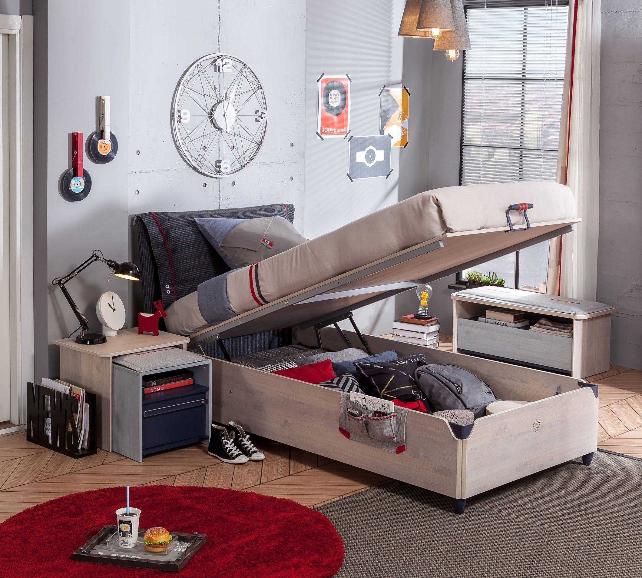 trio bett mit stauraum 100x200cm platzsparendes. Black Bedroom Furniture Sets. Home Design Ideas