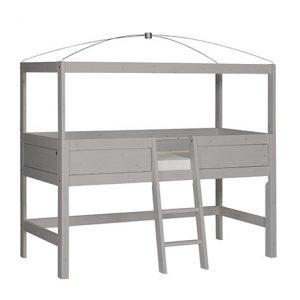 Minihochbett mit Himmelgestell und mittiger Leiter