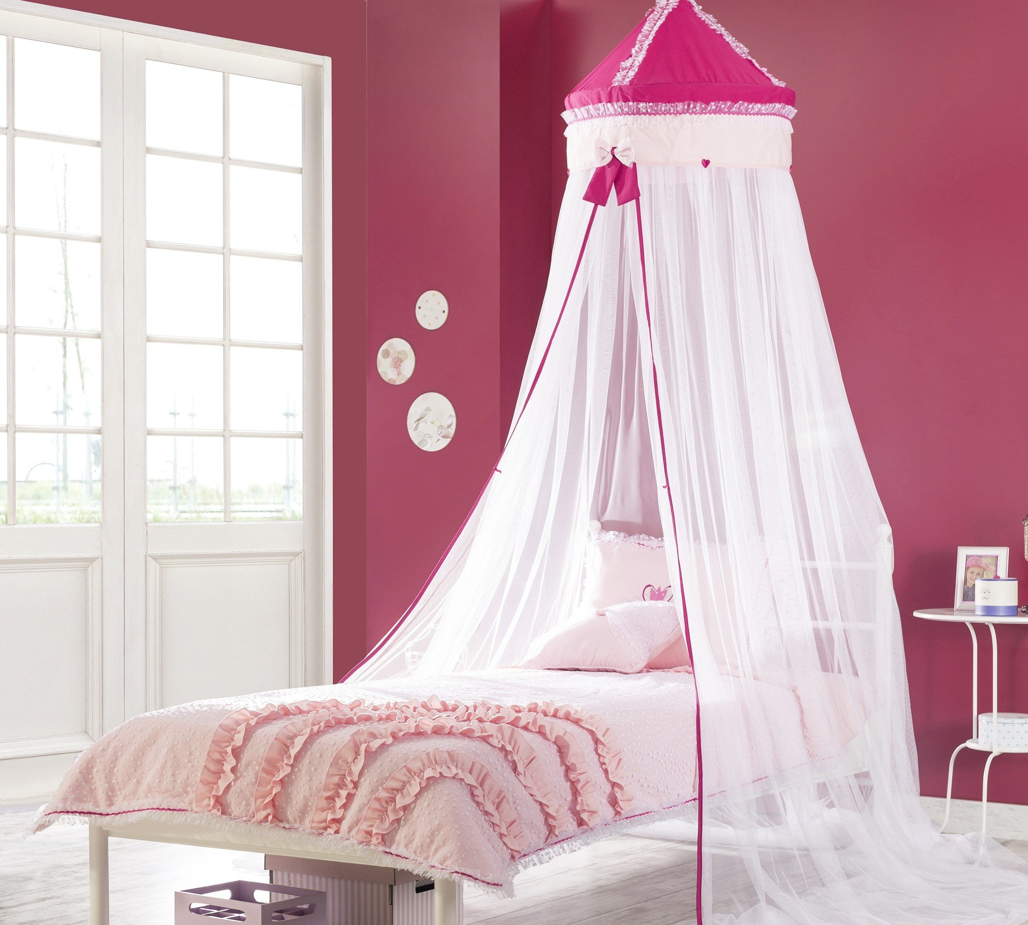 cilek rosa betthimmel in fuchsia mit weiss und r schen panda kinderm bel. Black Bedroom Furniture Sets. Home Design Ideas