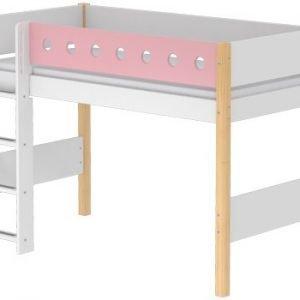 Flexa Mittelhohes Bett/ Klarlack- Rosa