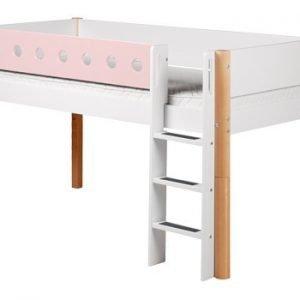Flexa White Halbhohes Bett / Weiss - Rosa