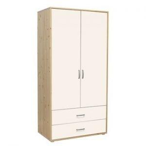 Flexa Kleiderschrank mit 2 Türen und 2 Schubladen / Klarlack- Weiss