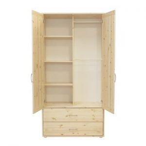 Flexa Kleiderschrank mit 2 Türen und 2 Schubladen / Klarlack - Klarlack - Weiss