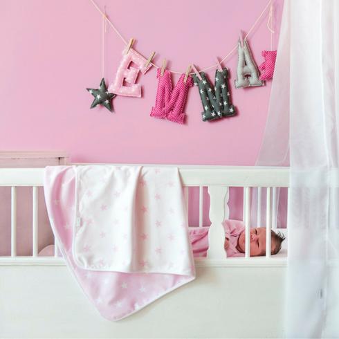 zewi kuscheldecke mit sternen motiv in rosa panda kinderm bel. Black Bedroom Furniture Sets. Home Design Ideas