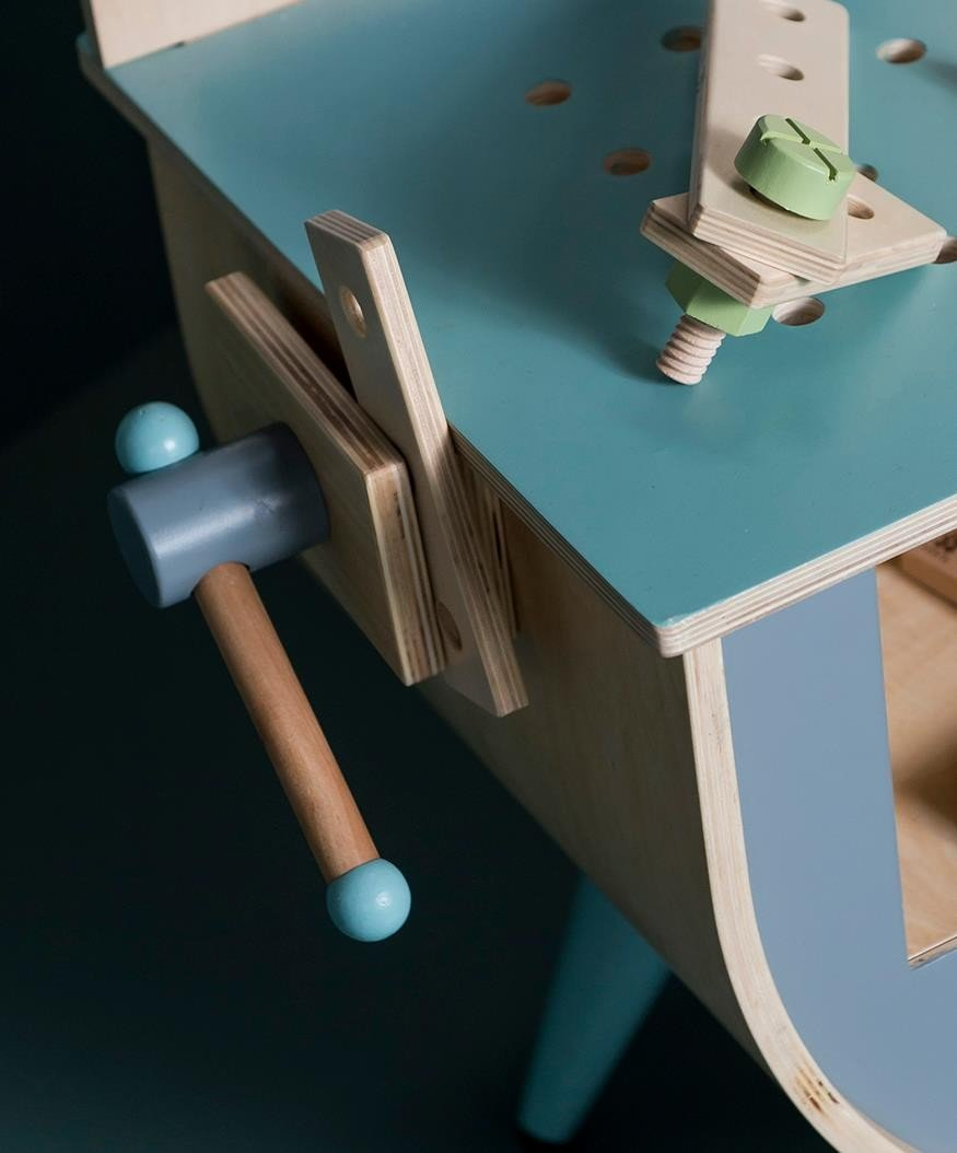 bau spielset aus holz erg nzung zum h lzernen sebra werkbank. Black Bedroom Furniture Sets. Home Design Ideas