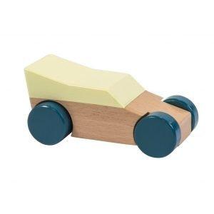 Rennwagen aus Holz, gelb
