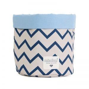 Mambo Stoffkorb zigzag blau