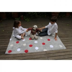 Lorena Canals Kinderteppich Polka Dots Grau Rot 2