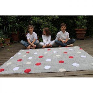 Lorena Canals Kinderteppich Polka Dots Grau Rot 3