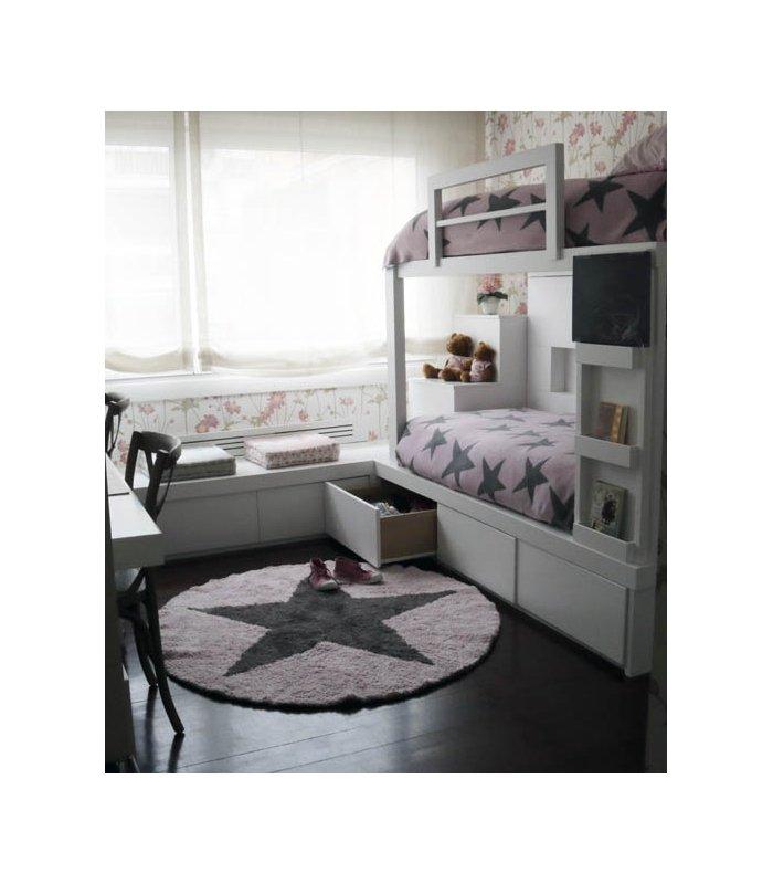 Waschbarer star wendeteppich pink dunkelgrau 140 for Deckenlampen kinderzimmer jugendzimmer
