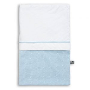 Baby`s only Bettbezug 100x135cm cable weiss babyblau