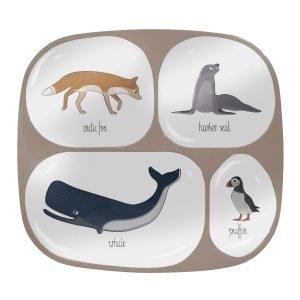 Melamin-Menüteller mit 4 Fächern, Arctic animals