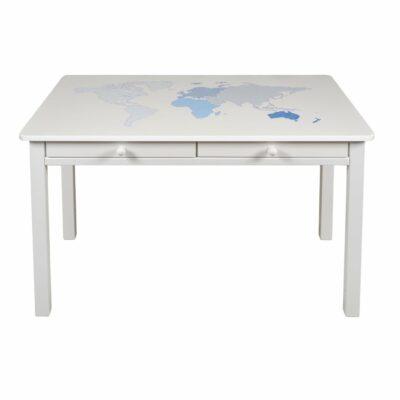 Schreibtisch mit Weltkarte Blau