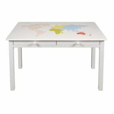 Schreibtisch mit Weltkarte bunt