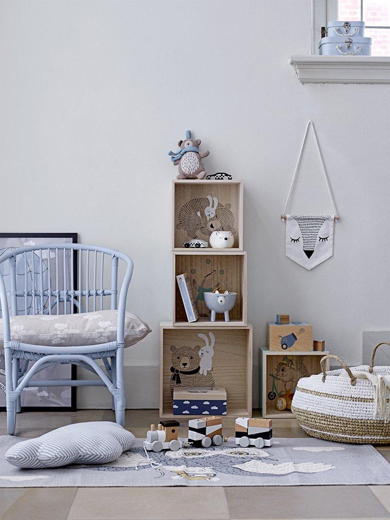 kinderteppich eule mit maus von bloomingville bei panda kinderm bel. Black Bedroom Furniture Sets. Home Design Ideas