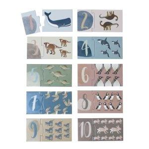 Zahlenpuzzle mit Tieren