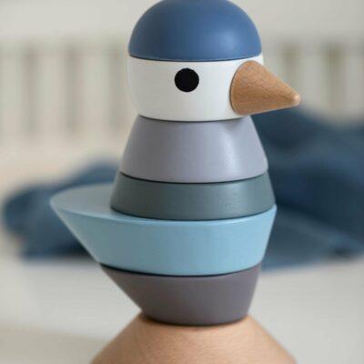 Stapel-Vogel aus Holz blau