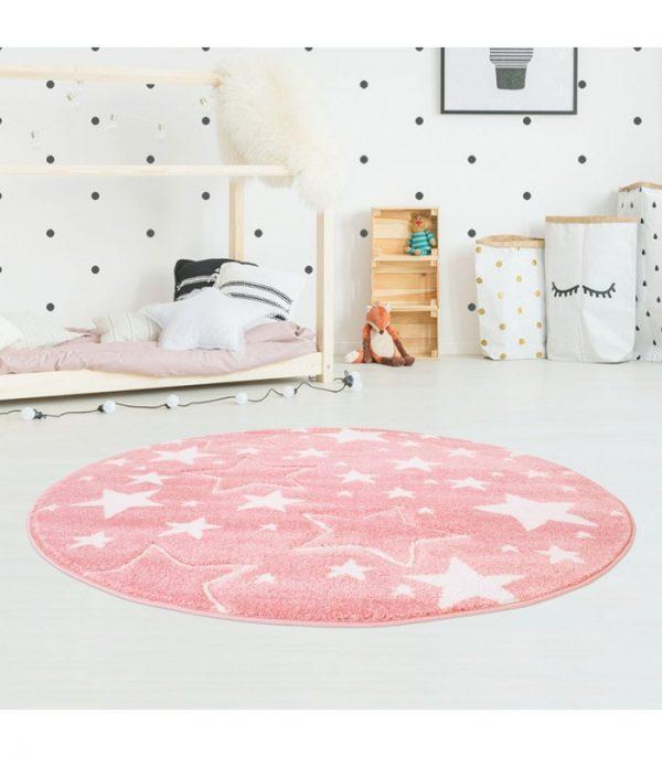 Kinderteppichmit Sternen in Rosa