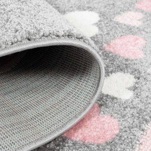 Kinderteppich Herzregen in Grau