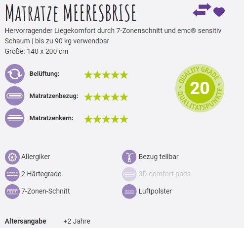 Matratze Meeresbrise 140x200cm