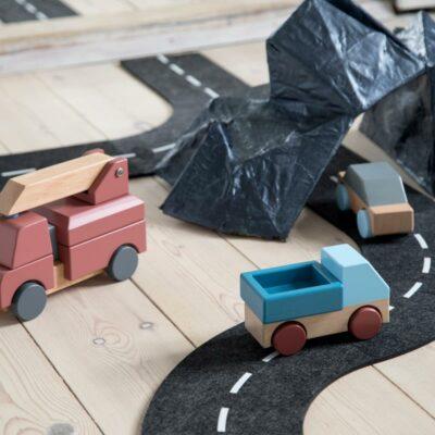 Feuerwehrauto aus Holz, Stapel-Spielzeug, clay red